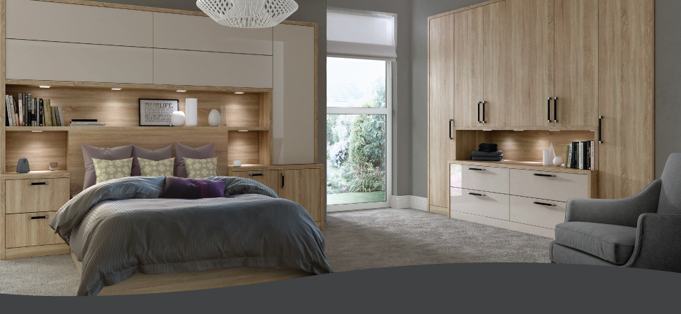 Wood and gloss fitted bedroom